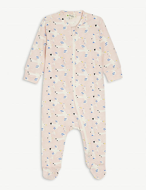 BONNIE MOB: Bird-print organic stretch-cotton all-in-one 0-18 months
