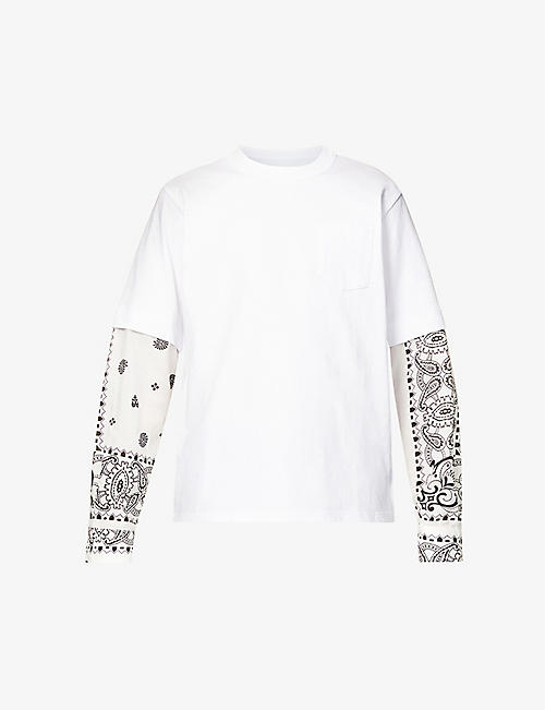 SACAI: Pais bandana-print cotton-jersey and crepe top