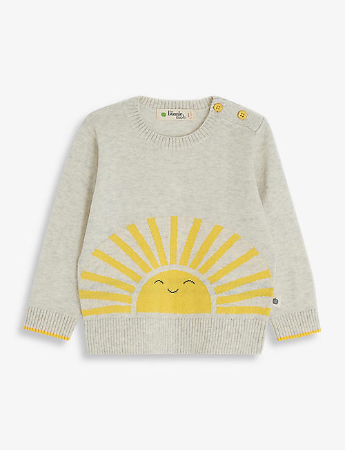 BONNIE MOB: Sunshine-intarsia organic stretch-cotton jumper 3-24 months