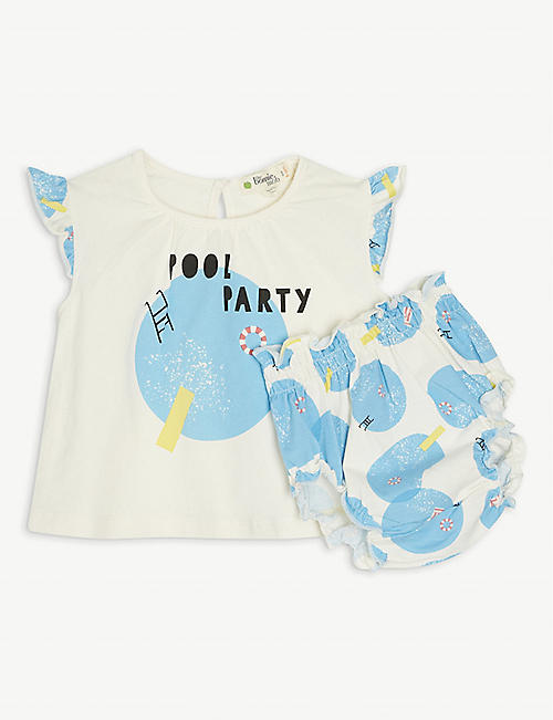 BONNIE MOB: Pool Party organic stretch-cotton bloomer set 3-24 months