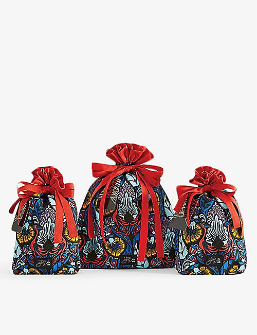 BAGS OF ETHICS: Giles Deacon Cosmic Phoenix organic sateen cotton gift wrapping set of three