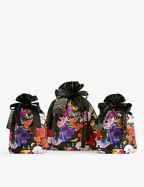 BAGS OF ETHICS: Preen Floral Decoupaged organic sateen cotton gift wrapping set of three