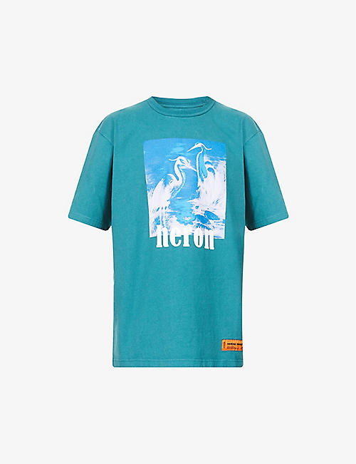 HERON PRESTON: Herons Halo graphic-print cotton-jersey T-shirt