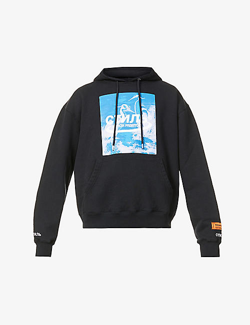 HERON PRESTON: Herons Halo graphic-print cotton-jersey hoody