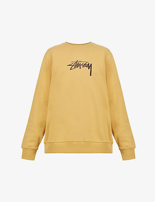 STUSSY: Stock logo-embroidered cotton-blend sweatshirt