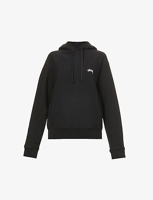 STUSSY: Logo-embroidered cotton-jersey hoody