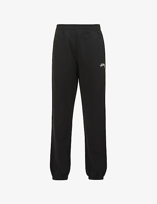 STUSSY: Stock logo-embroidered cotton-jersey jogging bottoms