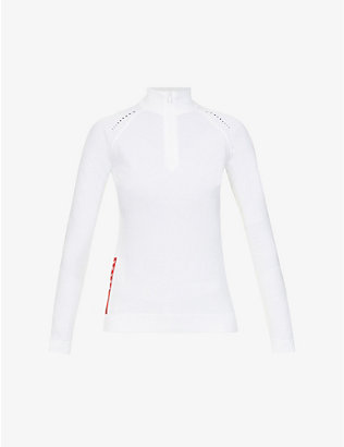PRADA: Linea Rossa turtleneck stretch recycled-polyester jumper