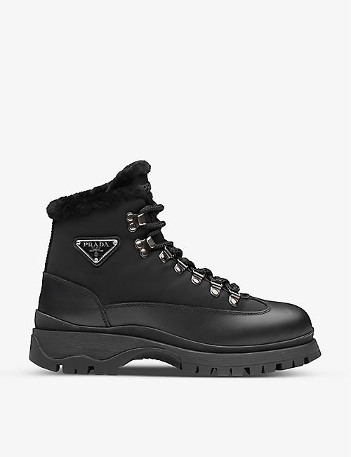 PRADA: Brixxen branded leather boots