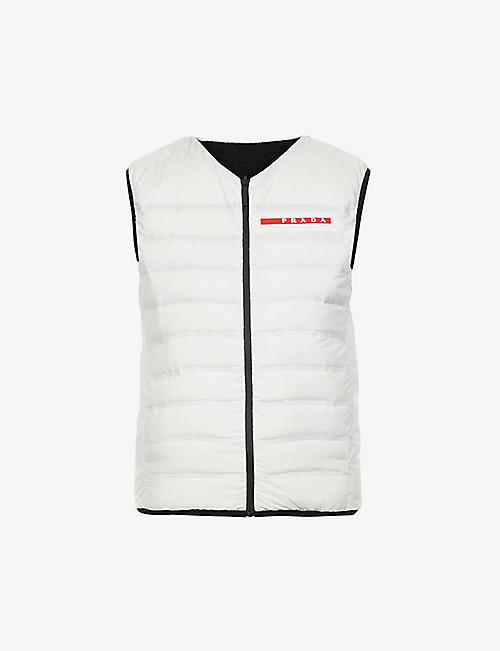 PRADA: Logo-embossed shell-down gilet