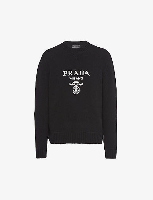 PRADA: Logo-intarsia wool and cashmere-blend jumper