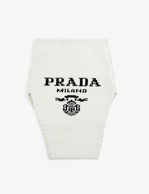 PRADA: Logo-intarsia wool and cashmere-blend neck warmer