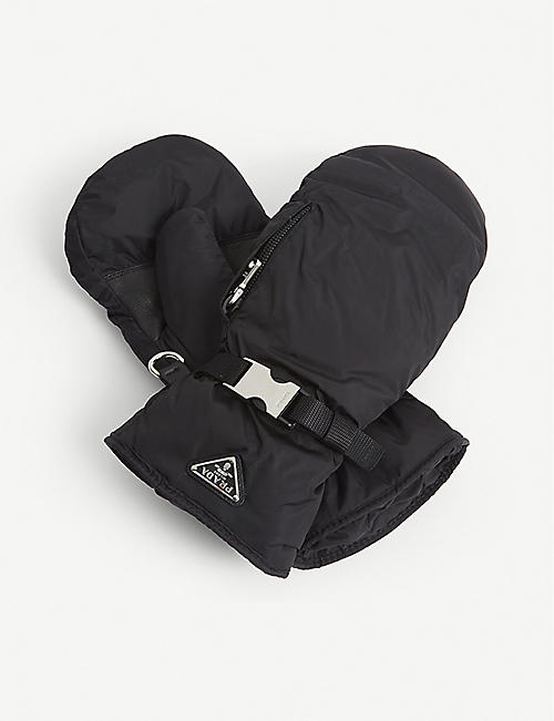 PRADA: Logo-plaque drawstring nylon ski gloves