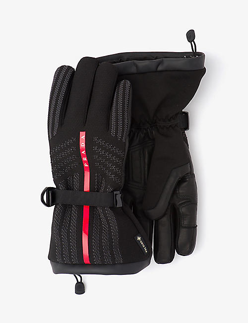 PRADA: Logo-embellished nylon and leather gloves