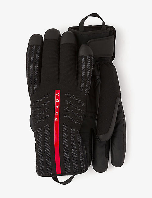 PRADA: Logo-embellished nylon and leather ski gloves