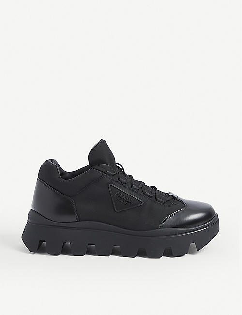 PRADA: Branded brushed leather and nylon trainers
