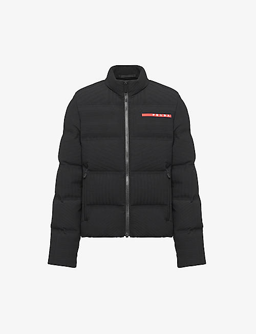 PRADA: Linea Rossa branded shell-down puffer jacket