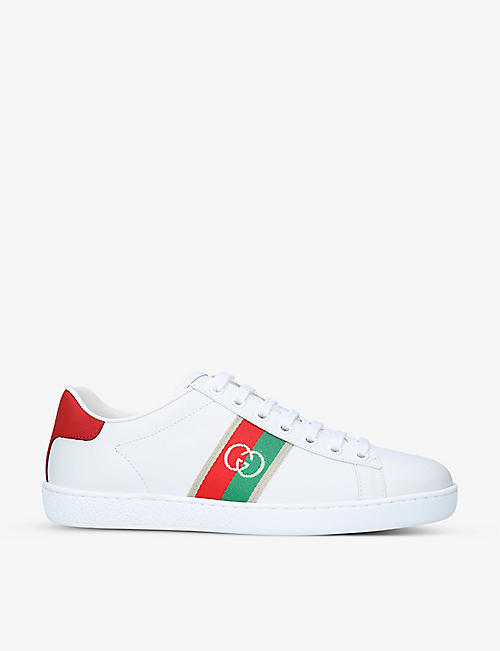 GUCCI: Women's Ace branded leather trainers