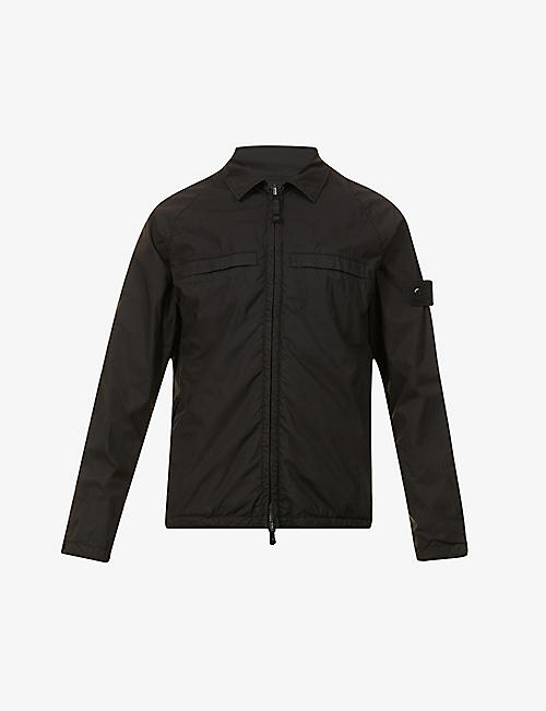 STONE ISLAND: Reversible raglan-sleeved stretch-cotton jacket