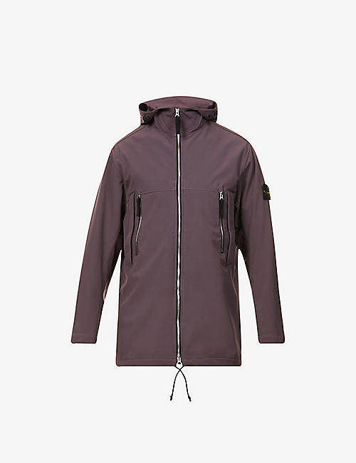 STONE ISLAND: Brand-patch stretch-shell hooded jacket