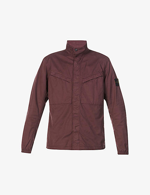 STONE ISLAND: Brand-patch long-sleeved stretch-cotton overshirt
