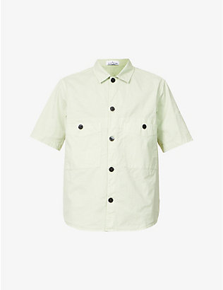 STONE ISLAND: Relaxed-fit logo-embroidered stretch-cotton overshirt