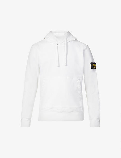 STONE ISLAND: Brand-patch long-sleeved cotton-jersey hoody