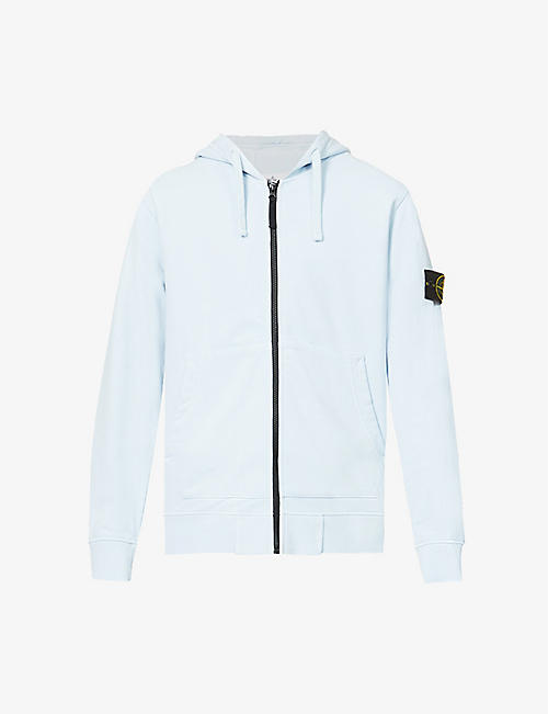 STONE ISLAND: Brand-patch cotton-jersey hoody