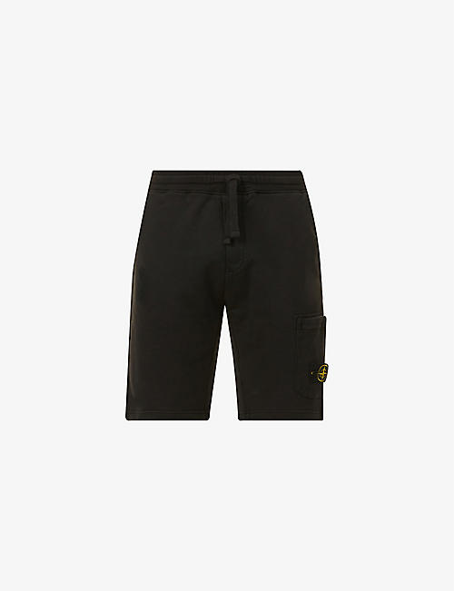 STONE ISLAND: Brand-patch graphic-print cotton-jersey shorts
