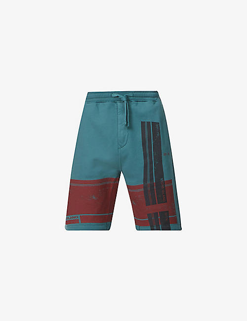 STONE ISLAND: Graphic-print relaxed-fit cotton-jersey shorts