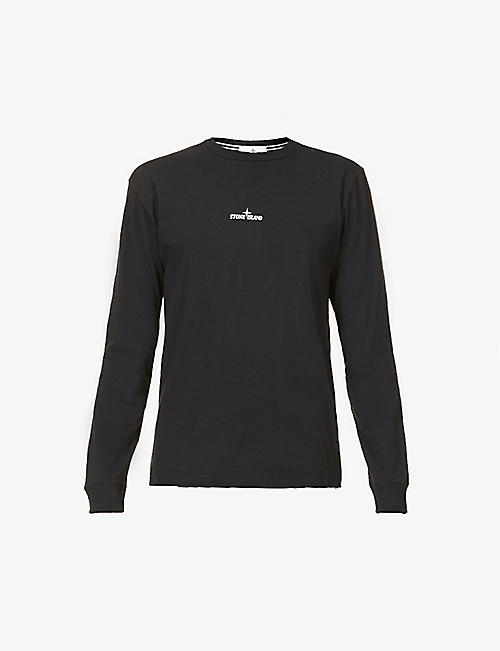 STONE ISLAND: Graphic-print crewneck cotton-jersey T-shirt