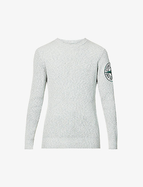 STONE ISLAND: Long-sleeve cotton-blend knitted jumper