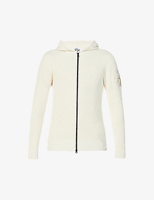 STONE ISLAND: Brand-embroidered cotton-blend knitted hooded cardigan