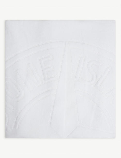 STONE ISLAND: Logo-embroidered cotton towel
