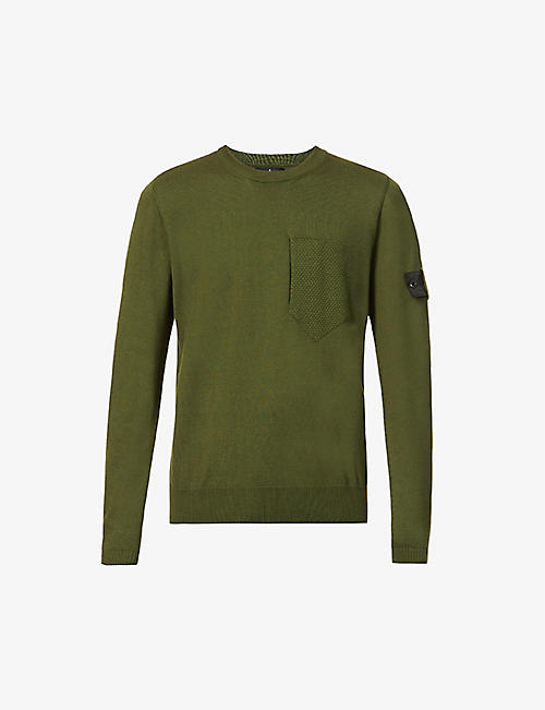 STONE ISLAND SHADOW PROJECT: Brand-patch crewneck cotton and silk-blend jumper