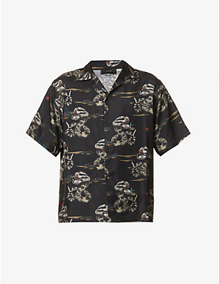 AMIRI: Rattlesnake printed relaxed-fit silk shirt