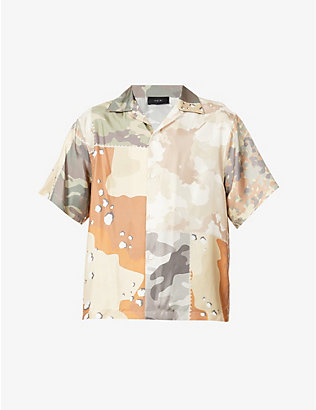 AMIRI: Camo-print relaxed-fit silk shirt