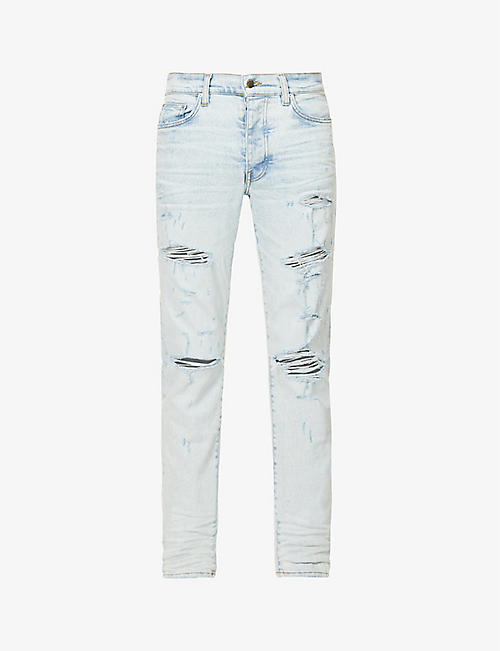 AMIRI: Thrasher Plus slim-fit ripped stretch-denim jeans