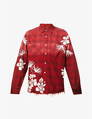 AMIRI: Floral-printed checked cotton shirt