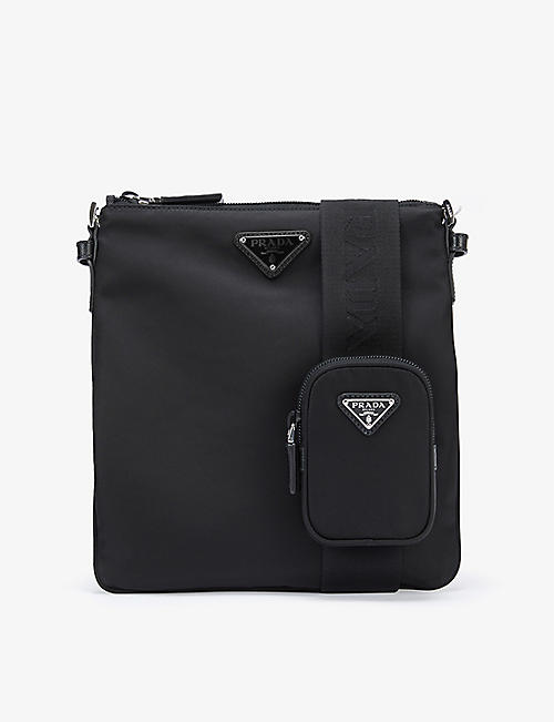 PRADA: Brand-plaque zipped small nylon cross-body bag