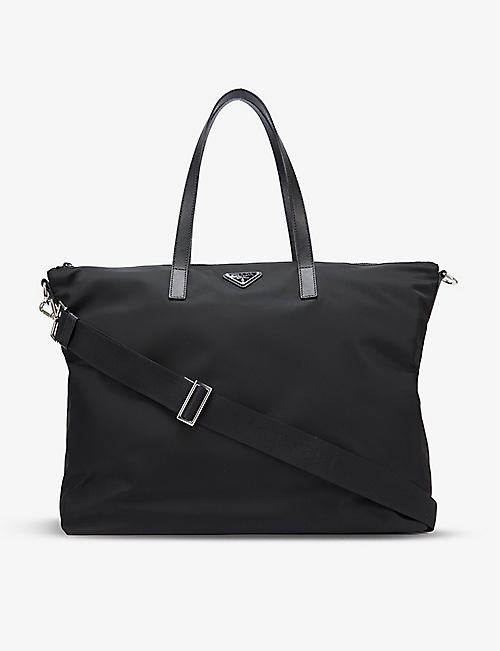 PRADA: Brand-plaque zipped nylon tote bag