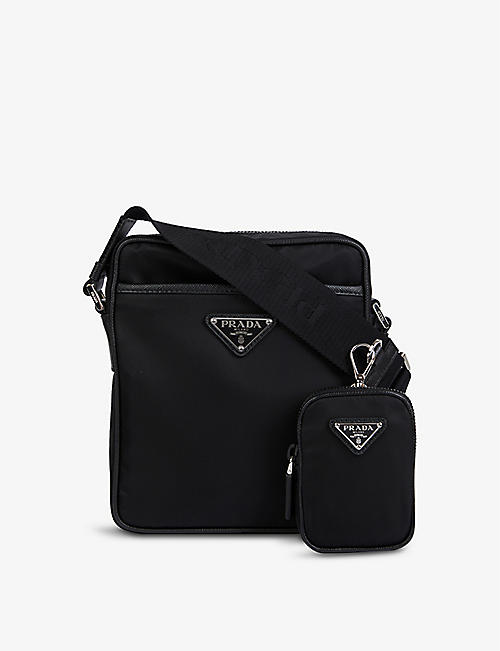 PRADA: Logo-plaque shell and leather cross-body bag