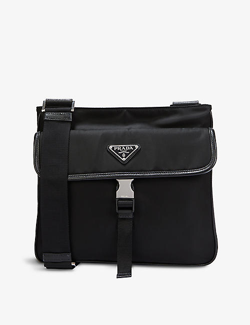 PRADA: Logo-plaque shell cross-body bag