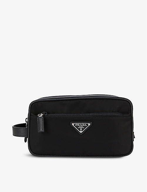PRADA: Brand-plaque zipped shell wash bag