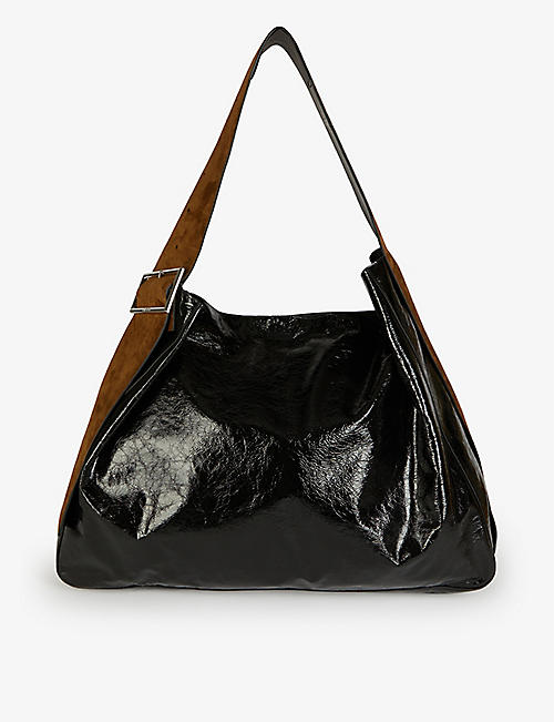 ACNE STUDIOS: Bucket large suede and leather hobo bag