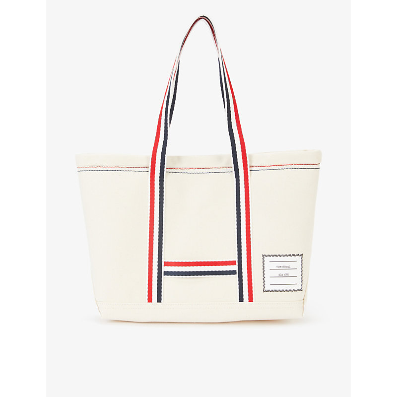 THOM BROWNE STRIPED-TRIM COTTON AND LEATHER CANVAS TOTE BAG