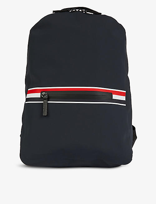 THOM BROWNE: Striped-trim zipped shell backpack