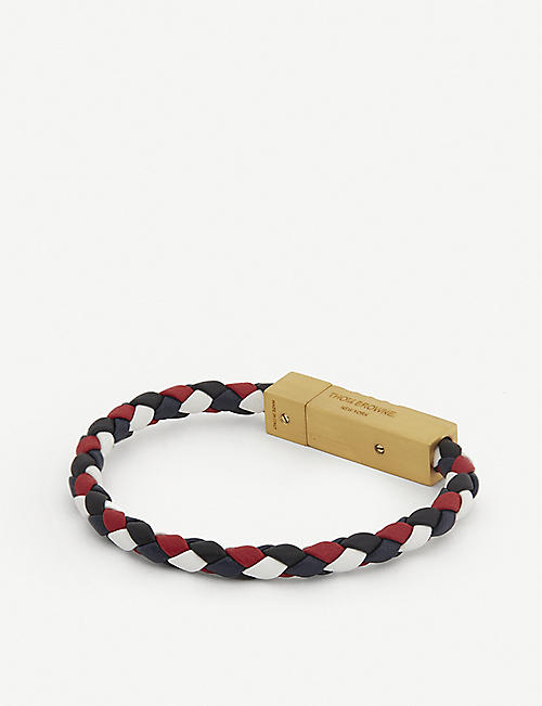 THOM BROWNE: Logo-embossed leather braided bracelet
