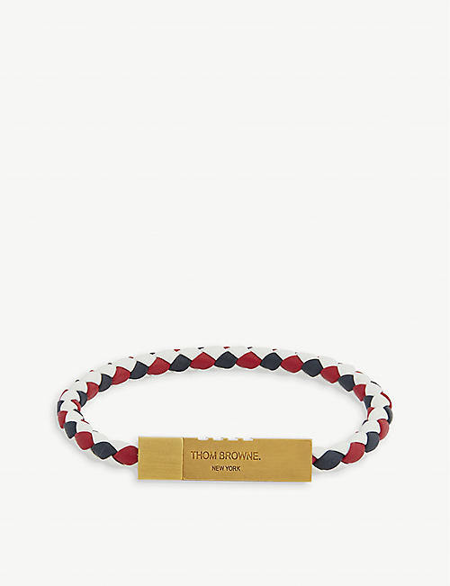 THOM BROWNE: Logo-embossed leather bracelet