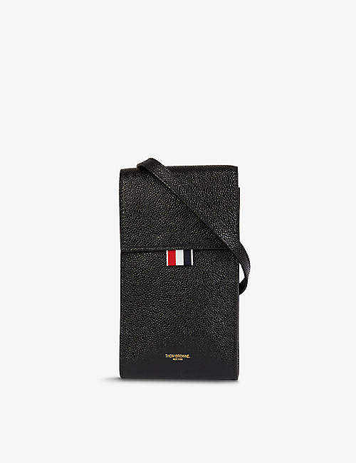 THOM BROWNE: Striped-trim grained-leather phone case with strap